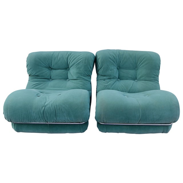 Tobia Scarpa Style Upholstered Chrome Lounge Chairs- A Pair - Image 3 of 8