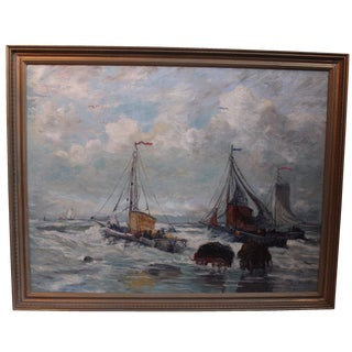 Antique Harbor with Boats Painting