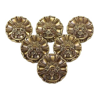 Solid Brass Flower Knobs - Set of 6