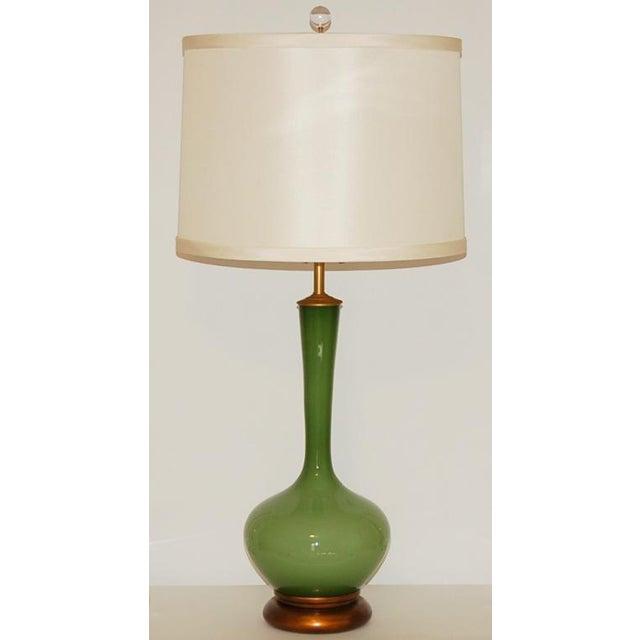 Marbro Handblown Swedish Green Lamps - Image 3 of 8