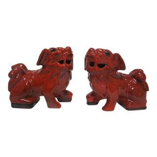 Red Foo Dogs - A Pair