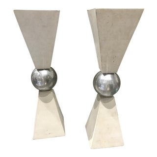 Tessellated Stone & Aluminum Candle Holders - A Pair