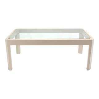 Lacquered Cloth Frame Glass Top rectangular Dining Table Off White Lacquer