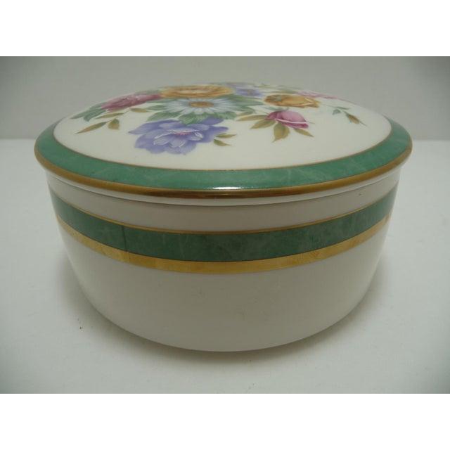 Mikasa Floral Porcelain Round Vanity Box Aqua - Image 3 of 6