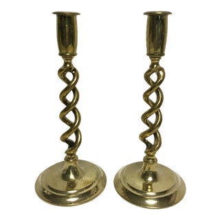 Antique Brass Barley Twist Candlesticks - Pair