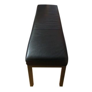 Black Leather Parsons Bench