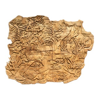 5ft Mid-Century Bas Relief Wood Sculpture -Coral Reef