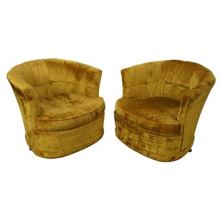 1950s Barrel Back Swivel Loungers - A Pair