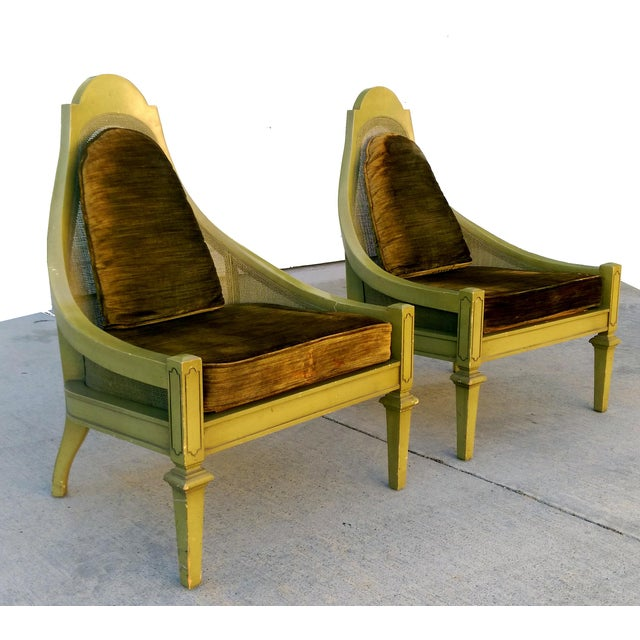 Mid-Century Green Cane Slipper Chairs - A Pair - Image 4 of 10