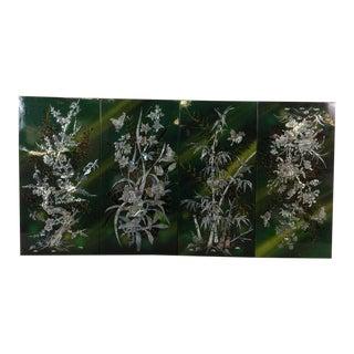 Green Floral 4-Panel Divider