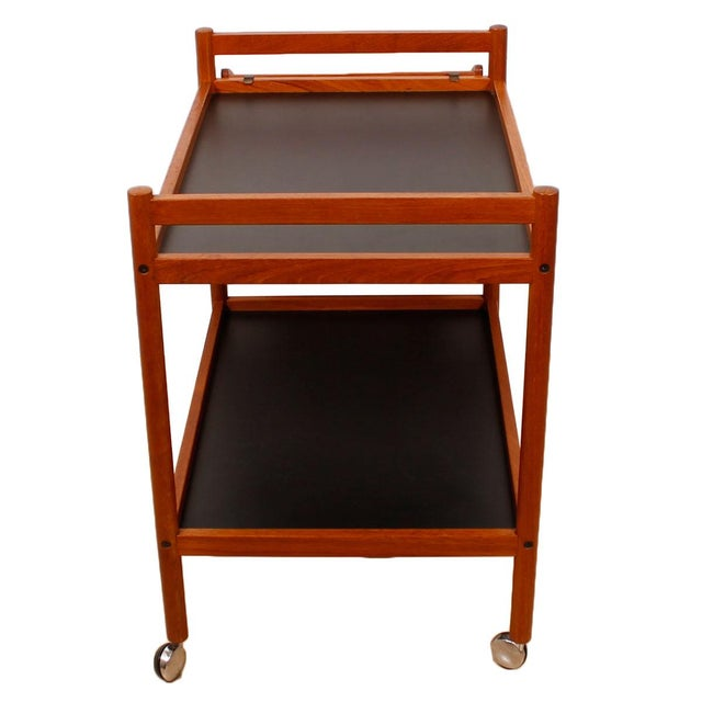 Danish Teak Bar Cart With Removable Wine Caddy - Image 6 of 10