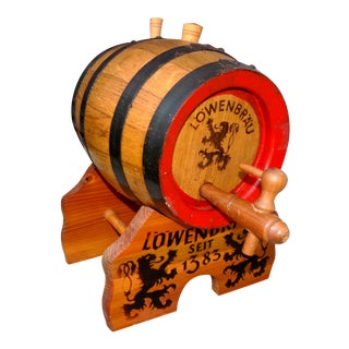 Lowenbrau Beer Wood Keg & Base