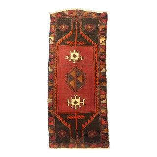 Vintage Turkish Oushak Hand Knotted Rug - 1′9″ × 4′