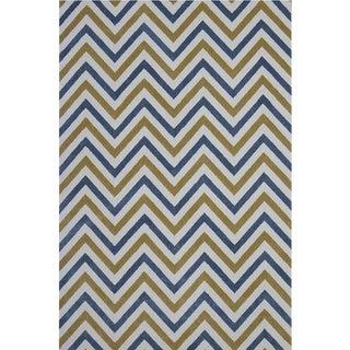 Chevron Blue Yellow Rug - 8' x 10'7''