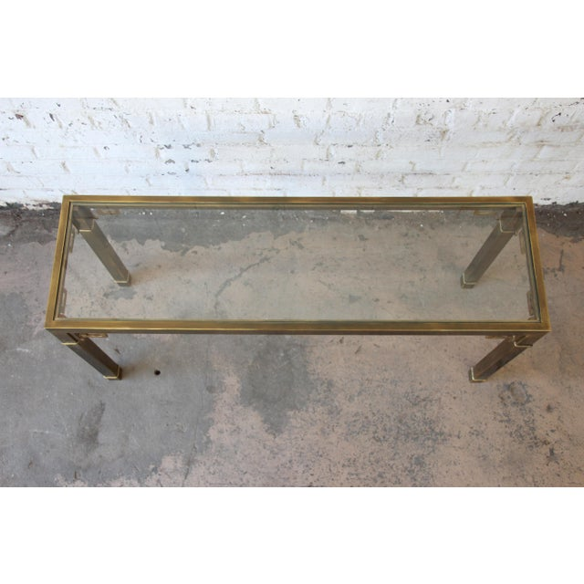 Mastercraft Hollywood Regency Brass and Glass Console Table with Greek Key Motif - Image 6 of 8
