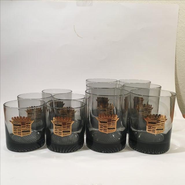 Image of Vintage Cadillac Smoked Glass Set - 11 Pcs