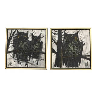 Vintage Mid-Century Lee Reynolds Owl Paintings - A Pair