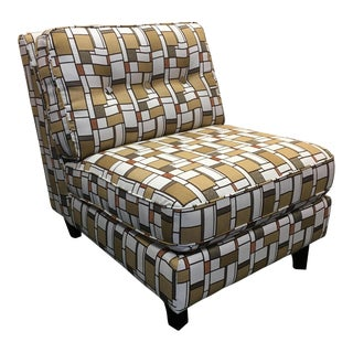 Geometric Gold & Ivory Armless Accent Chair