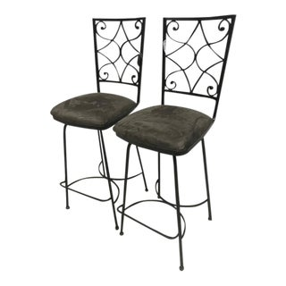 Wrought Iron Swivel Bar Stool - a Pair