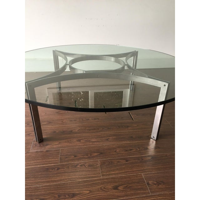 Large glass top coffee table with chrome base chairish for Large glass top coffee table