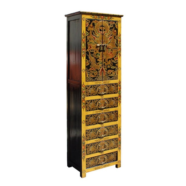 Chinese Tibetan Dragon Slim Multi Drawer Cabinet - Image 2 of 6
