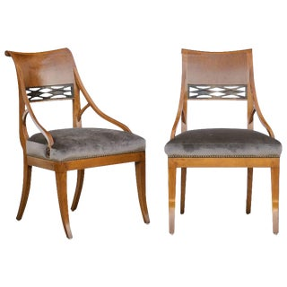 Pair of 19th Century Biedermeier Chairs with Grey Silk Velvet Upholstered Seats