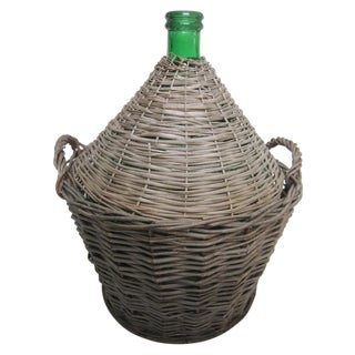 French Glass Demijohn with Basket