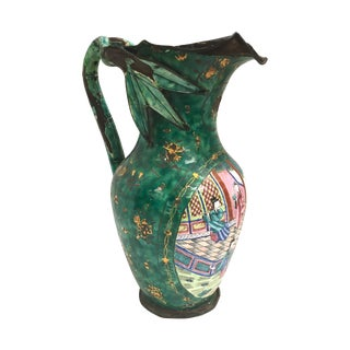 Asian Enamel on Copper Pitcher
