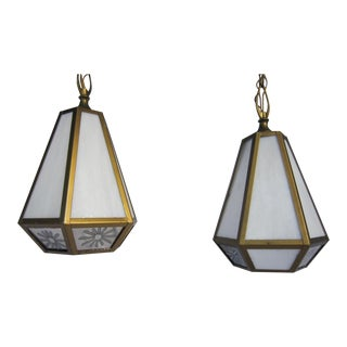 Mid Century Pendant Lights - Pair