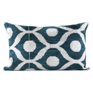 "Silk Velvet Teal Ikat Pillow - 16"" x 24"""