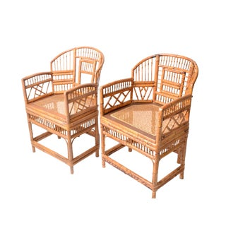 Vintage Rattan Bamboo Armchairs - A Pair
