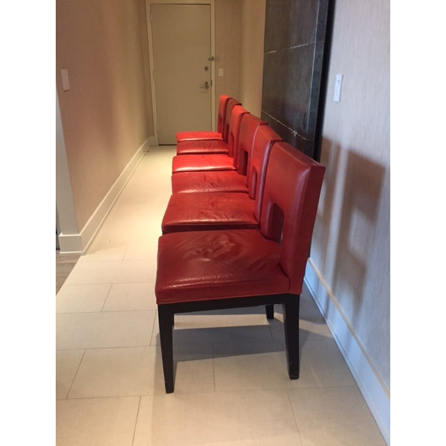Red Custom Made Dining Chairs - Set of 6 - Image 4 of 8