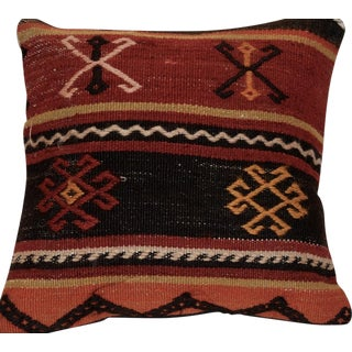 Black and Red Vintage Handmade Wool Boho Pillow