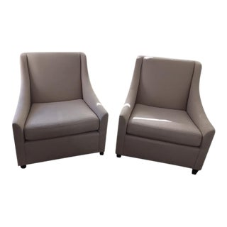 West Elm Slope Arm Club Chairs - a Pair