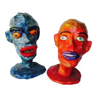 Folk Art Paper Mache Head Form Sculptures - Pair