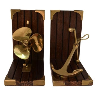 Vintage Nautical Brass & Wood Bookends - A Pair