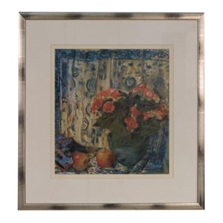 Vintage Framed Print of Flowers and Apples