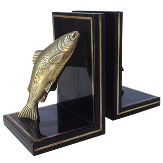 Brass Trout Fish & Wood Bookends - A Pair
