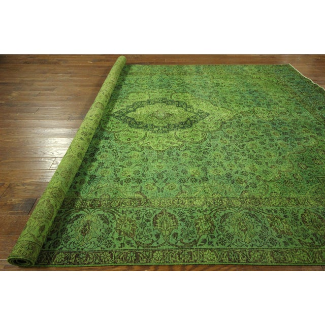 """Lime Green Overdyed Tabriz Area Rug - 9'5"""" x 12' - Image 10 of 10"""