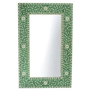 Green Floral Inlay Mirror Frame