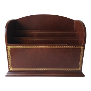 Vintage Gilt Leather Desk Organizer