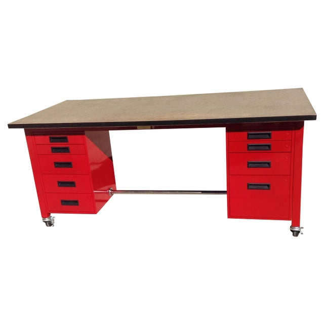 Red Powder Coated Steel Work Station - Image 1 of 5