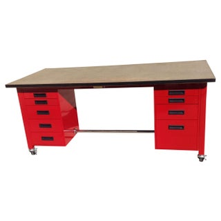 Red Powder Coated Steel Work Station