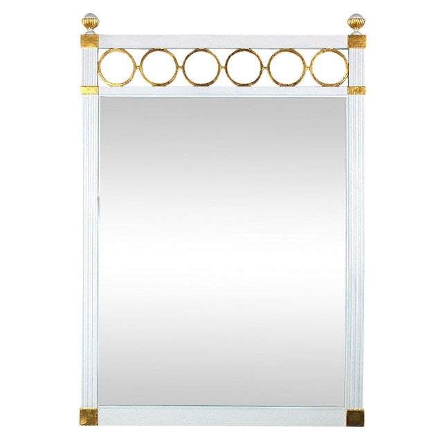 Mid century white and gold mirror chairish for White and gold mirror