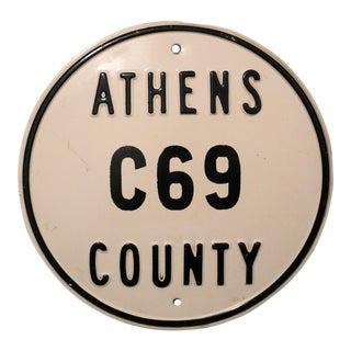 Vintage Athens County C69 Metal Drag Car Racing Sign