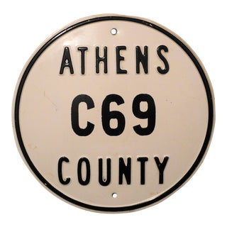 Vintage Athens County C69 Metal Drag Car Racing Sign