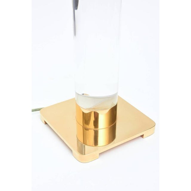 Column Clear Lucite and Gold-Plated Brass Table or Desk Lamp - Image 7 of 8