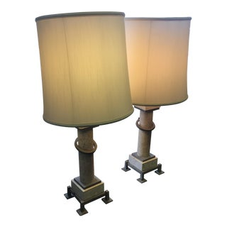 Stone & Metal Table Lamps - A Pair