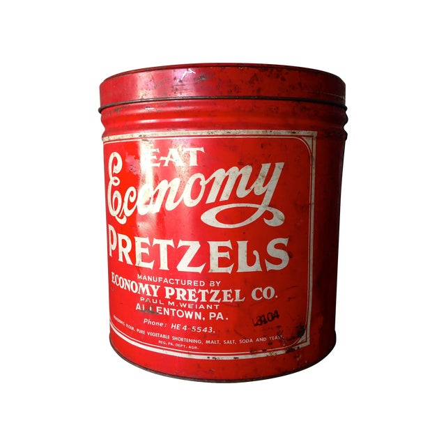 Vintage Eat Economy Pretzels Container - Image 1 of 8