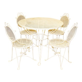 Mid-Century White Patio Tables & Chairs